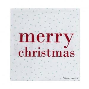 """Papierserviette """"Merry Christmas"""" in weiß/rot/mint  von Bloomingville"""