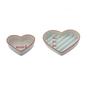 Bloomingville Schale in Herzform Lucia Offwhite Red/Mint 2er-Set