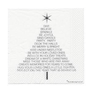 """Serviette """"Christmas Tree"""" in weiß von Bloomingville"""