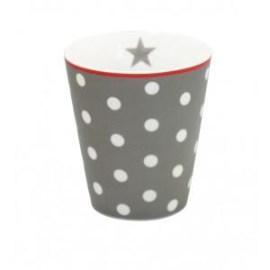 Happy Mug grau gepunktet von Krasilnikoff