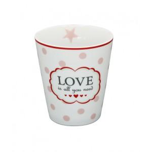 Happy Mug Love is all you need weiß von Krasilnikoff