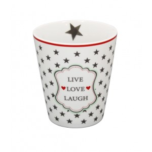 Happy Mug Live Love Laugh weiß von Krasilnikoff