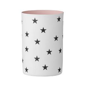 Bloomingville Teelicht weiss mit Sternen innen rose